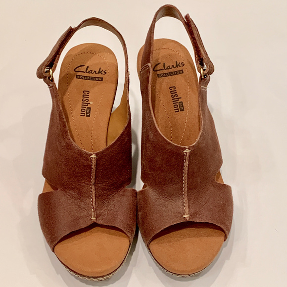 cae787f08 Clarks Shoes | Leather Wedge Sandals | Poshmark